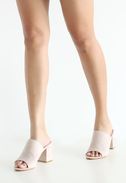 TC Taylor Suede Heeled Mules (Nude) - 34 to 39 - TUESDAY C.