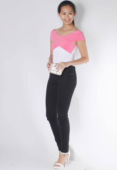 (50% OFF) MAIRA Off Shoulder Top (Pink) - TUESDAY C.