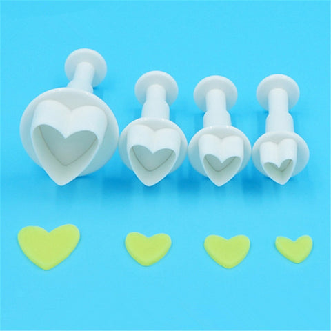 4 Pc Mini Heart Plunger Cutter Set