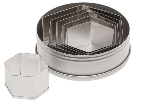 6 Piece Plain Hexagon Cutter Set - Miles Cake & Candy Supplies