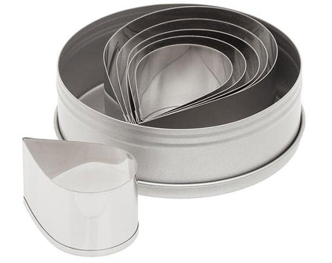 6 Piece Plain Teardrop Cutter Set - Miles Cake & Candy Supplies