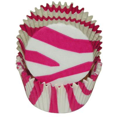 Hot Pink Zebra Print Baking Cups
