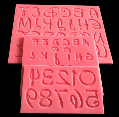 3 pc Character Large Font  Silicone Mold