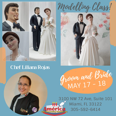 Groom and Bride Cake Topper  Modeling Class with Chef Liliana Rojas