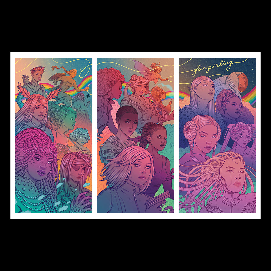 Fangirling Limited Edition Triptych Art Print by Jen Bartel