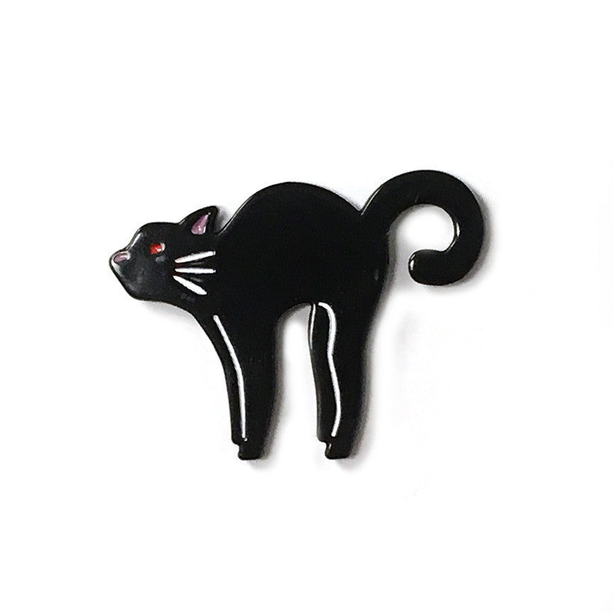 Scaredy Black Cat Enamel Pin