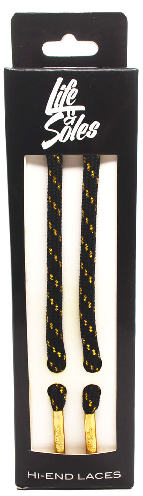 Black & Gold Threaded Rope Shoelaces