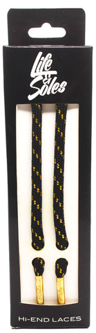 White & Gold Threaded Rope Shoelaces