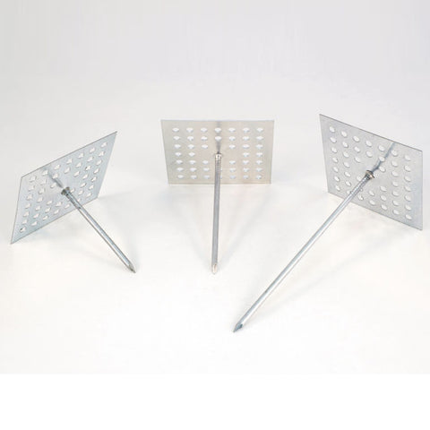 "Perforated Base Insulation Hangers, 2"" Square, 12 ga. Galvanized Steel -"