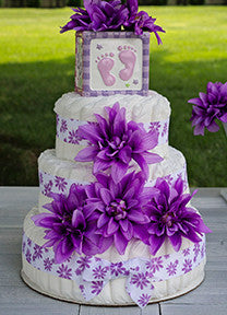 Tropical Purple Girl Diaper Cake