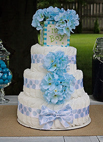 Modern Boy Diaper Cake With Blue Hydrangea And Polka Dots