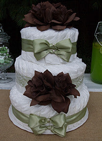 Simply Sweet Green Ribbon and Chocolate Rose Diaper Cake