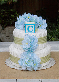 Simply Sweet Green Stripe Blue Hydrangea Diaper Cake