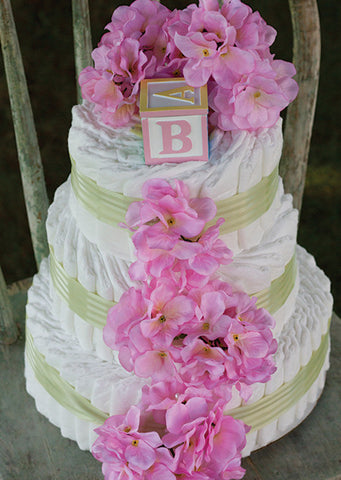 Simply Sweet Green Stripe Pink Hydrangea Diaper Cake
