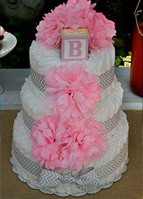 Modern Girl Diaper Cake With Pink Crysanthemums And Grey Chevron