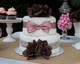 Simply Sweet Pink Ribbon and Chocolate Rose Diaper Cake