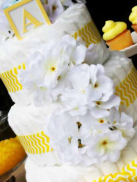 Modern Neutral Diaper Cake With White Hydrangeas And Yellow Chevron