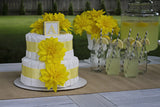 Modern Neutral Diaper Cake With Yellow Dahlia's And Yellow Polka Dots
