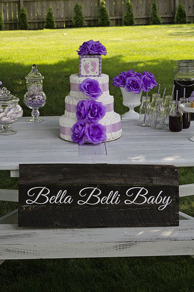 Modern Girl Diaper Cake With Purple Roses And Polka Dots