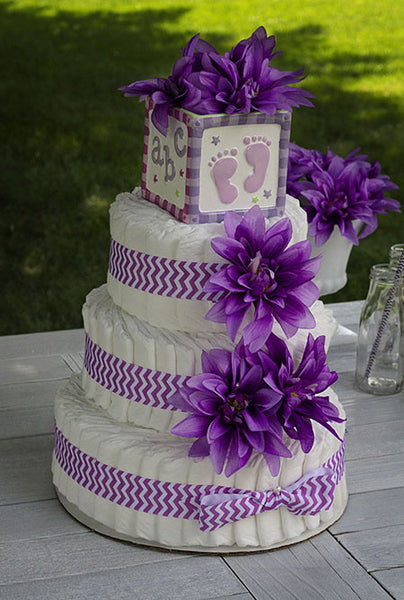 Modern Girl Diaper Cake With Purple Dahlias And Purple Chevron