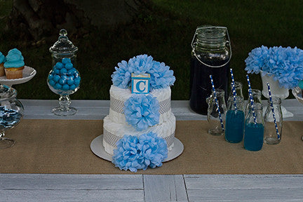 Modern Boy Diaper Cake With Blue Crysanthemum And Grey Chevron