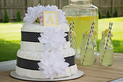 Modern Neutral Diaper Cake With White Dahlia's And Black Polka Dots