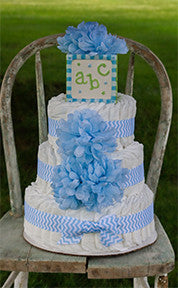 Modern Boy Diaper Cake With Blue Crysanthemum And Blue Chevron