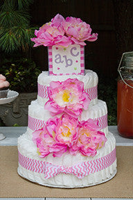 Modern Girl Diaper Cake With Pink Peonies And Pink Chevron