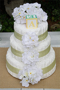 Simply Sweet Green Stripe White Hydrangea Diaper Cake