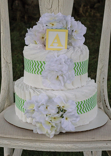 Modern Neutral Diaper Cake With Green Chevron And White Hydrangeas