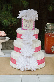Modern Girl Diaper Cake With White Dahlias And Pink Polka Dots