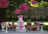 Modern Girl Diaper Cake With Pink Hydrangeas And Polka Dots