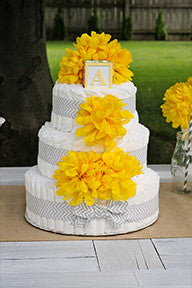 Modern Neutral Diaper Cake With Yellow Chrysanthemum's And Grey Chevron