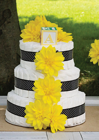 Modern Neutral Diaper Cake With Yellow Dahlia's And Black Polka Dots