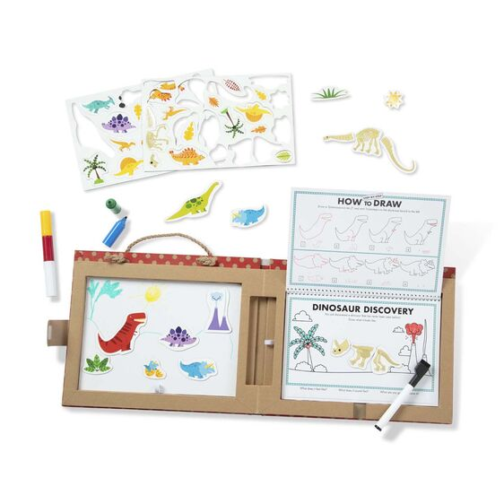 Melissa & Doug - Play, Draw, Create Reusable Drawing & Magnet Kit - Dinos