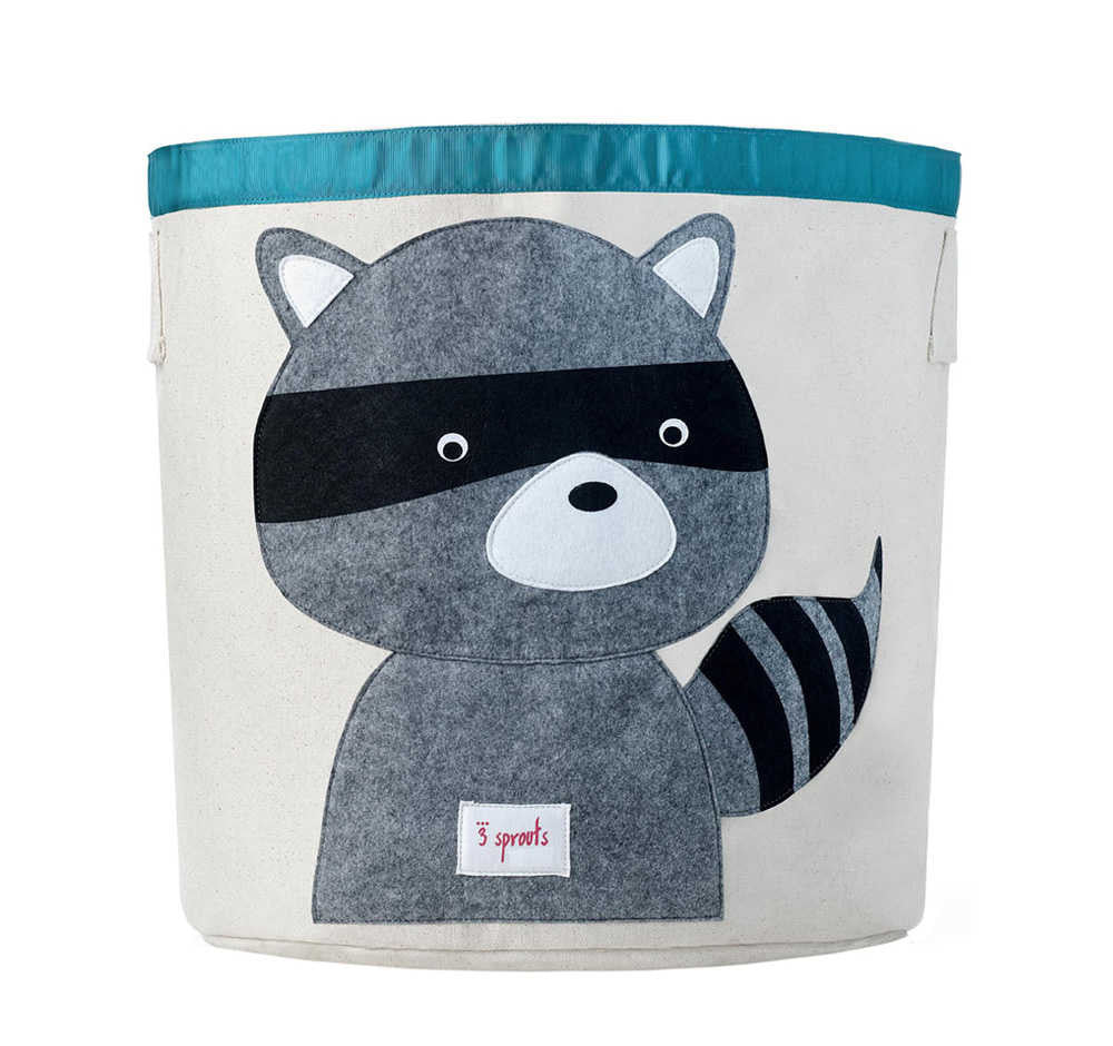 3 Sprouts - Cesto de Juguetes Grey Raccoon