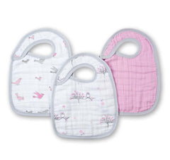 Set de tres baberos en tonos rosa For the Birds de Aden+Anais