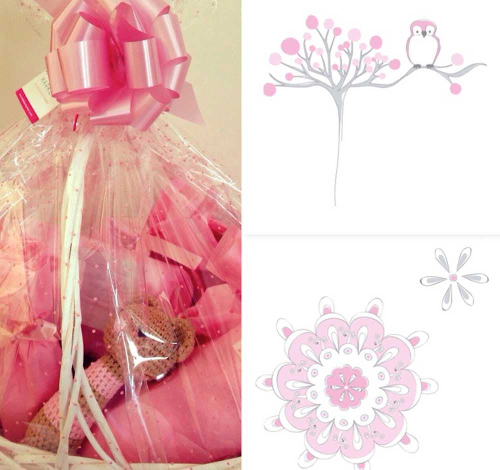 "Gift Set BabyShower o Nacimiento NIÑA ""For the birds"""