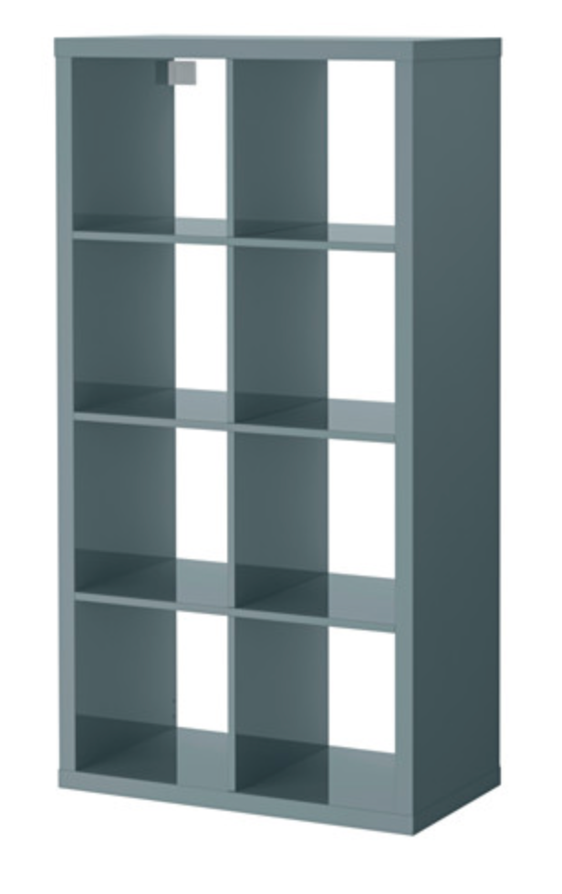 Ikea - Mueble para juguetes, high gloss gray-turquoise
