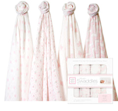 Swaddle Designs - Set Swaddles x4, Pink Butterfly Fun