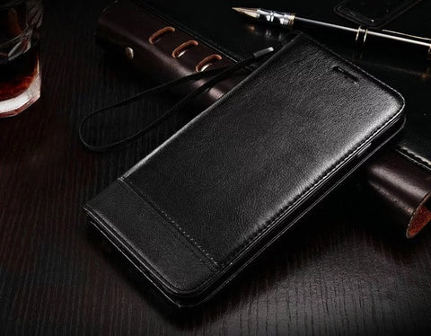 Luxury Flip Leather Mobile Phone bag Case For Samsung Galaxy S6 S6 edge Plus S7 S7edge Note 5 Card Slot S8 plus Wallet Cover