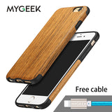 MyGeek Wood Cover Luxury Mobile Phone Case for iphone 5 5s 6 6s 7 plus phone Case Protective Back Cover natural Original Design