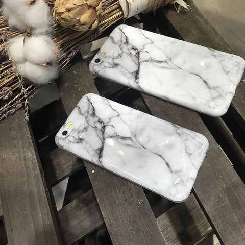 New Hot Cool Fashion Crack White Black Marble Print Soft TPU Slim Shell Cover For iPhone 6 s 7 plus Stylish Cute Phone Case Girl