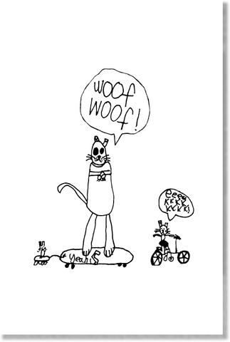 Skateboarding Dog and Cats print