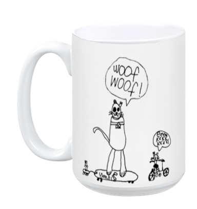 Skateboarding Dog and Cats mug