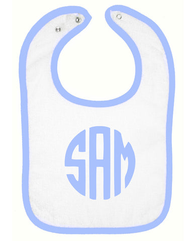 Embroidered Infant Contrast Trim Terry Bib