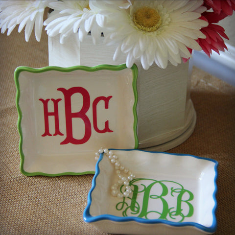 Personalized Square Ruffle Trinket Dish - Several Colors Available