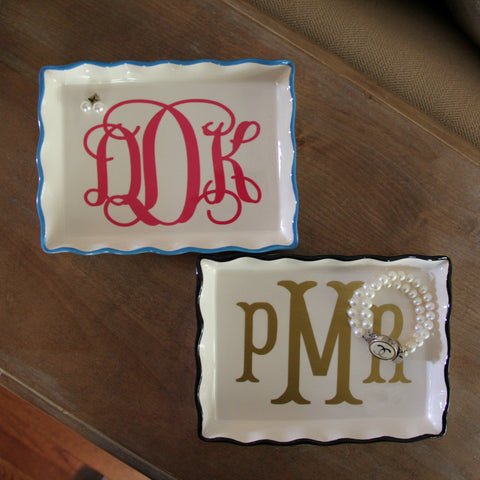 Personalized Rectangle Ruffle Trinket Dish - Several Colors Available