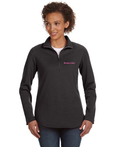 Embroidered LAT Quarter-Zip French Terry Pullover