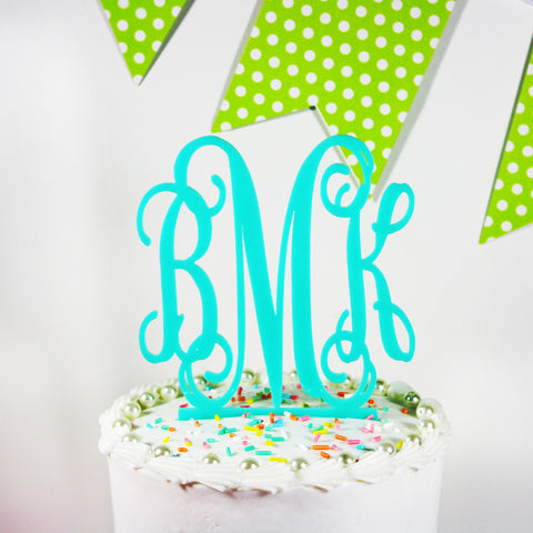 Monogrammed Acrylic Cake Topper - Available in 13 Colors!